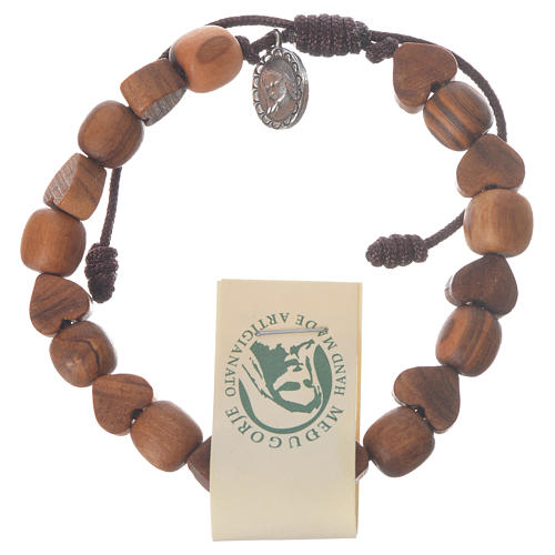 Medjugorje olive wood bracelet with heart grains 1