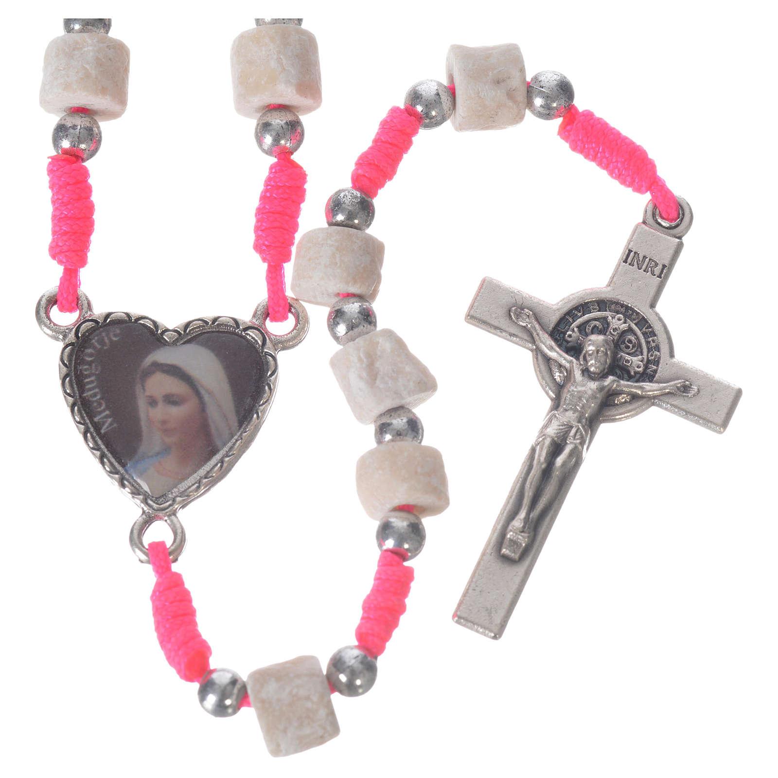 Rosario Medjugorje pietra bianca corda rosa 4