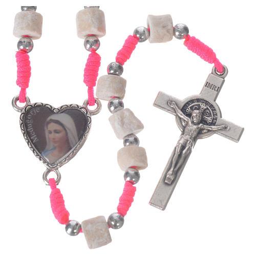 Rosario Medjugorje pietra bianca corda rosa 1