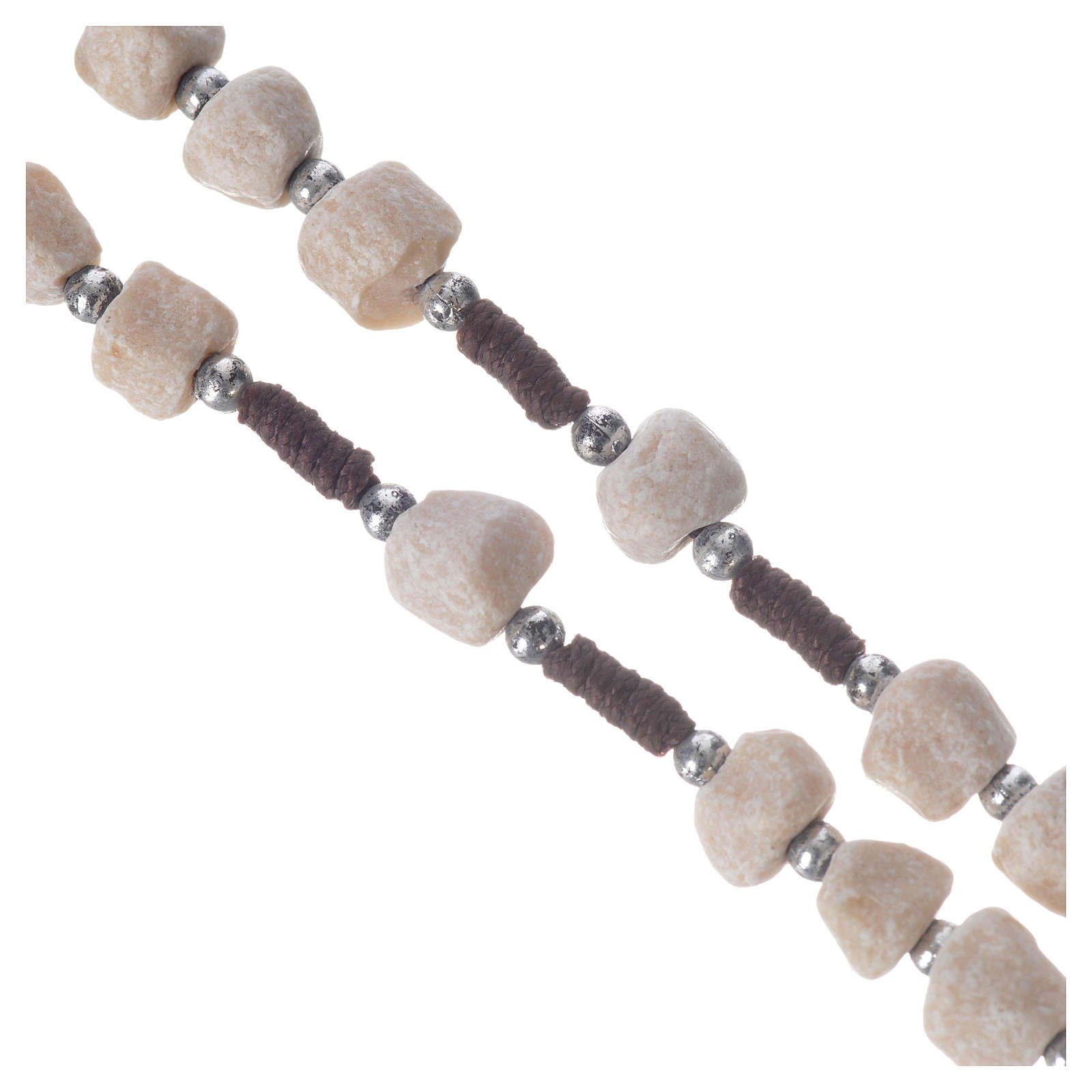 Medjugorje rosary in real white stone and brown cord 4
