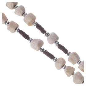 Medjugorje rosary in real white stone and brown cord s3