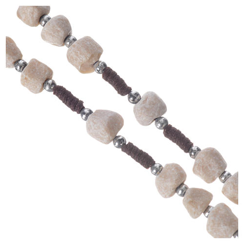 Medjugorje rosary in real white stone and brown cord 3