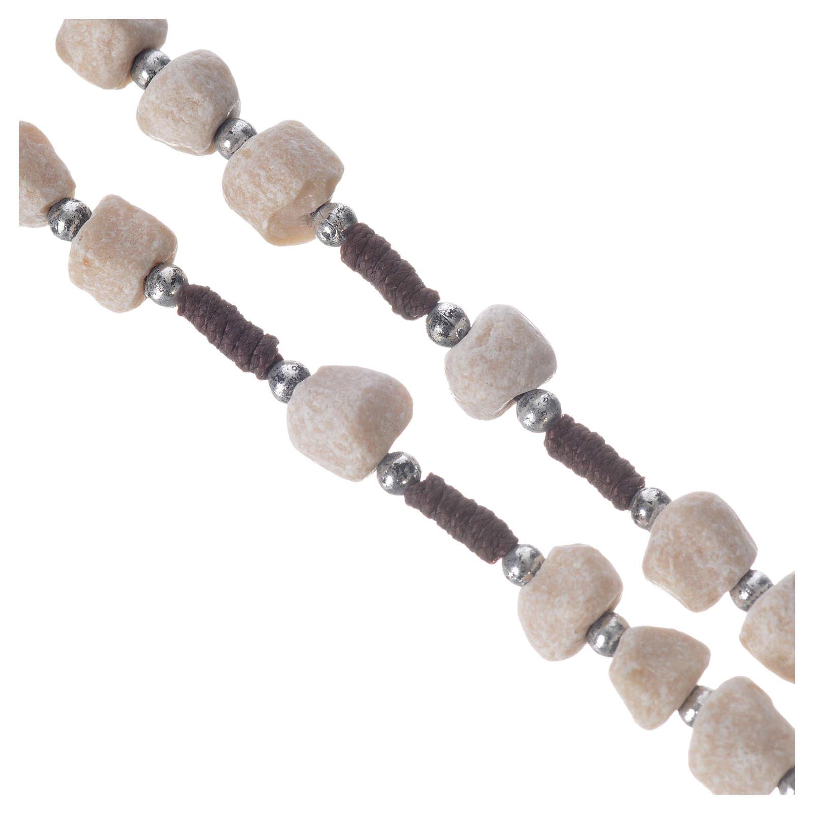 Rosario Medjugorje pietra bianca corda marrone 4