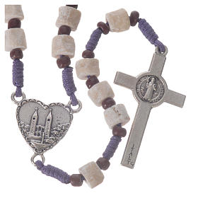 Medjugorje rosary in real white stone and purple cord s2