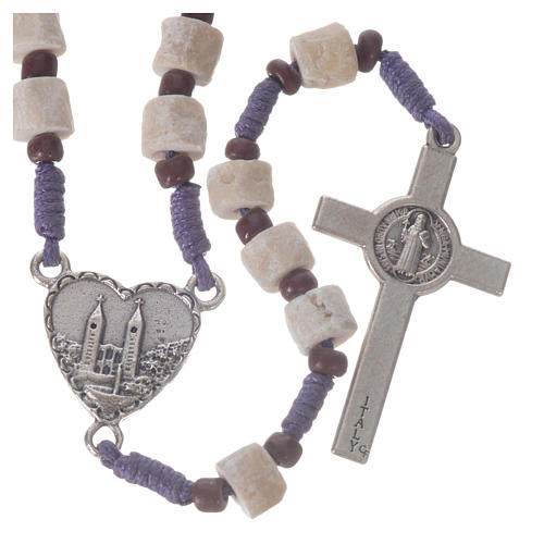 Medjugorje rosary in real white stone and purple cord 2