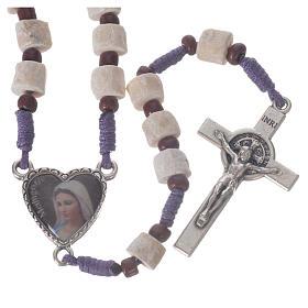 Chapelets et boîte chapelets: Chapelet Medjugorje pierre blanche corde violet