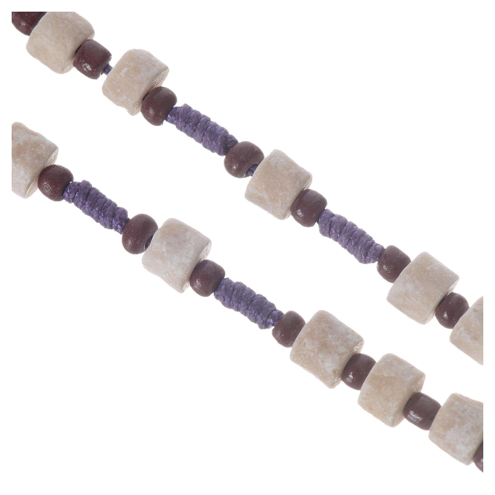 Rosario Medjugorje pietra bianca corda viola 4