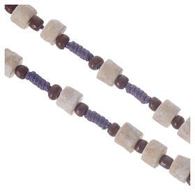 Rosario Medjugorje pietra bianca corda viola s3