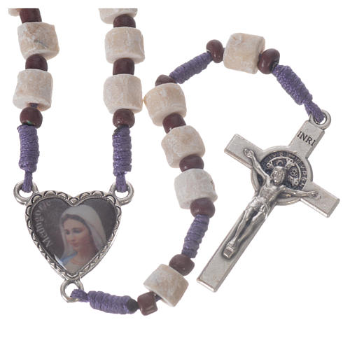 Medjugorje rosary in real white stone and purple cord 1
