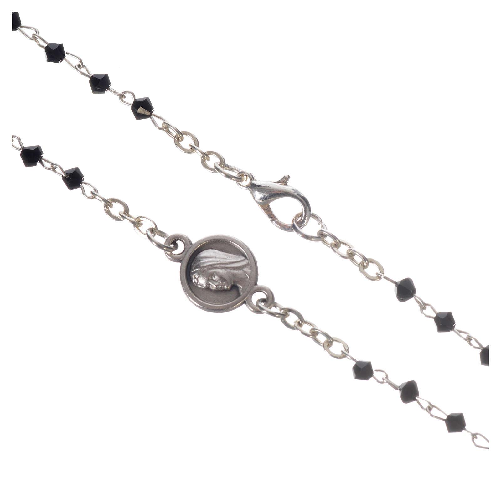 Collar Medjugorje cristal negro acero 4