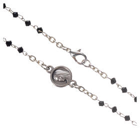 Collar Medjugorje cristal negro acero s3