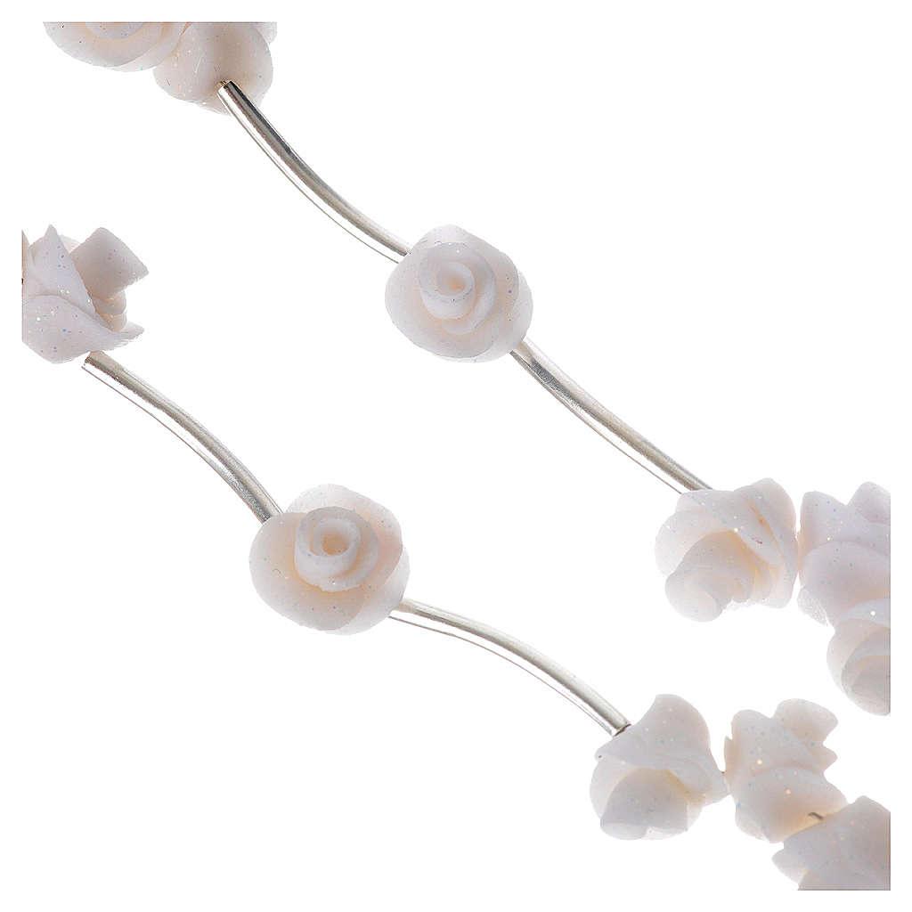 Rosario Medjugorje rose bianche croce strass 4