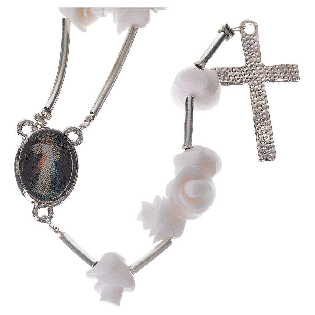 Medjugorje Rosary with white roses, cross and rhinestones 4