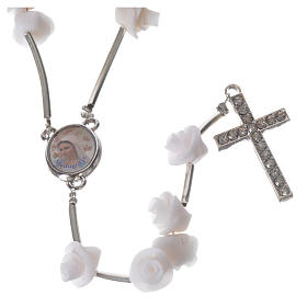 Medjugorje Rosary with white roses, cross and rhinestones s5