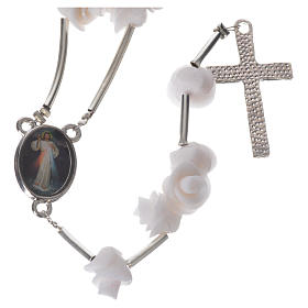 Medjugorje Rosary with white roses, cross and rhinestones s6