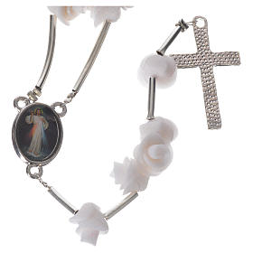 Medjugorje Rosary with white roses, cross and rhinestones s2