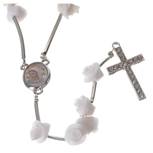 Medjugorje Rosary with white roses, cross and rhinestones 5