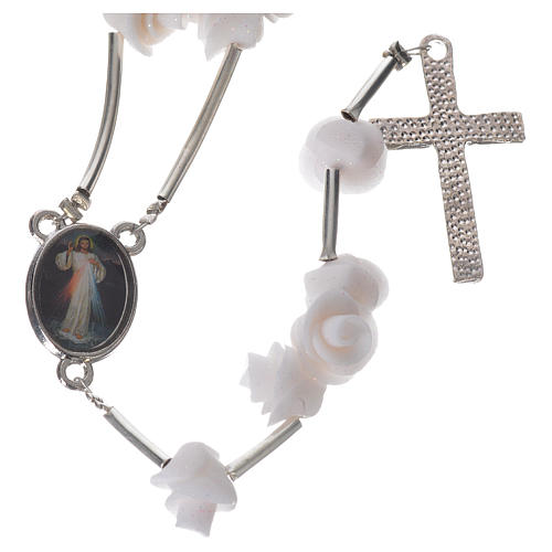Medjugorje Rosary with white roses, cross and rhinestones 2