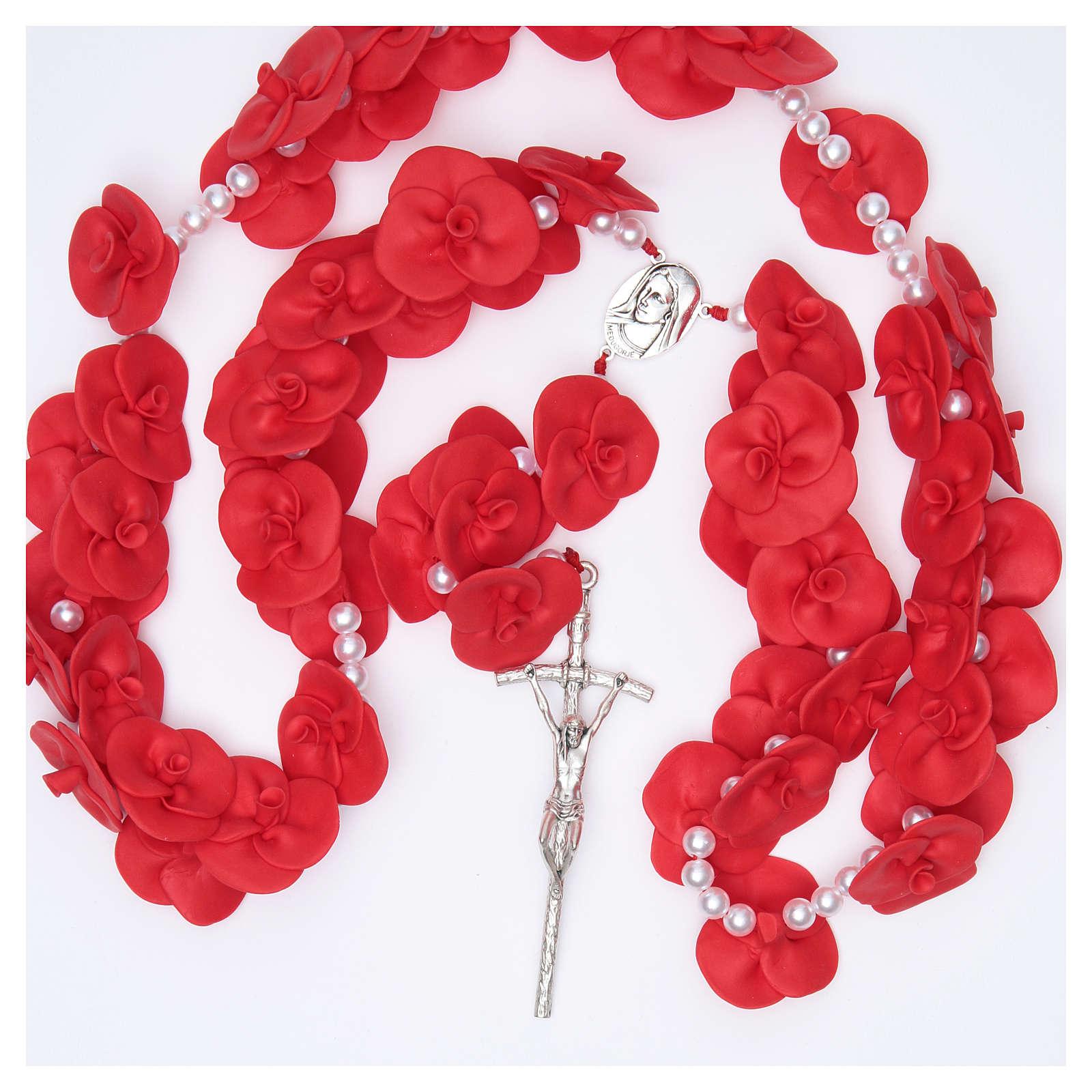 Terço de parede Medjugorje rosas vermelhas 4