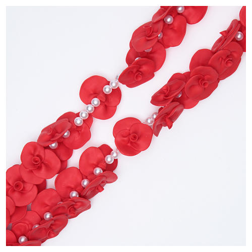 Medjugorje wall rosary with red roses 3