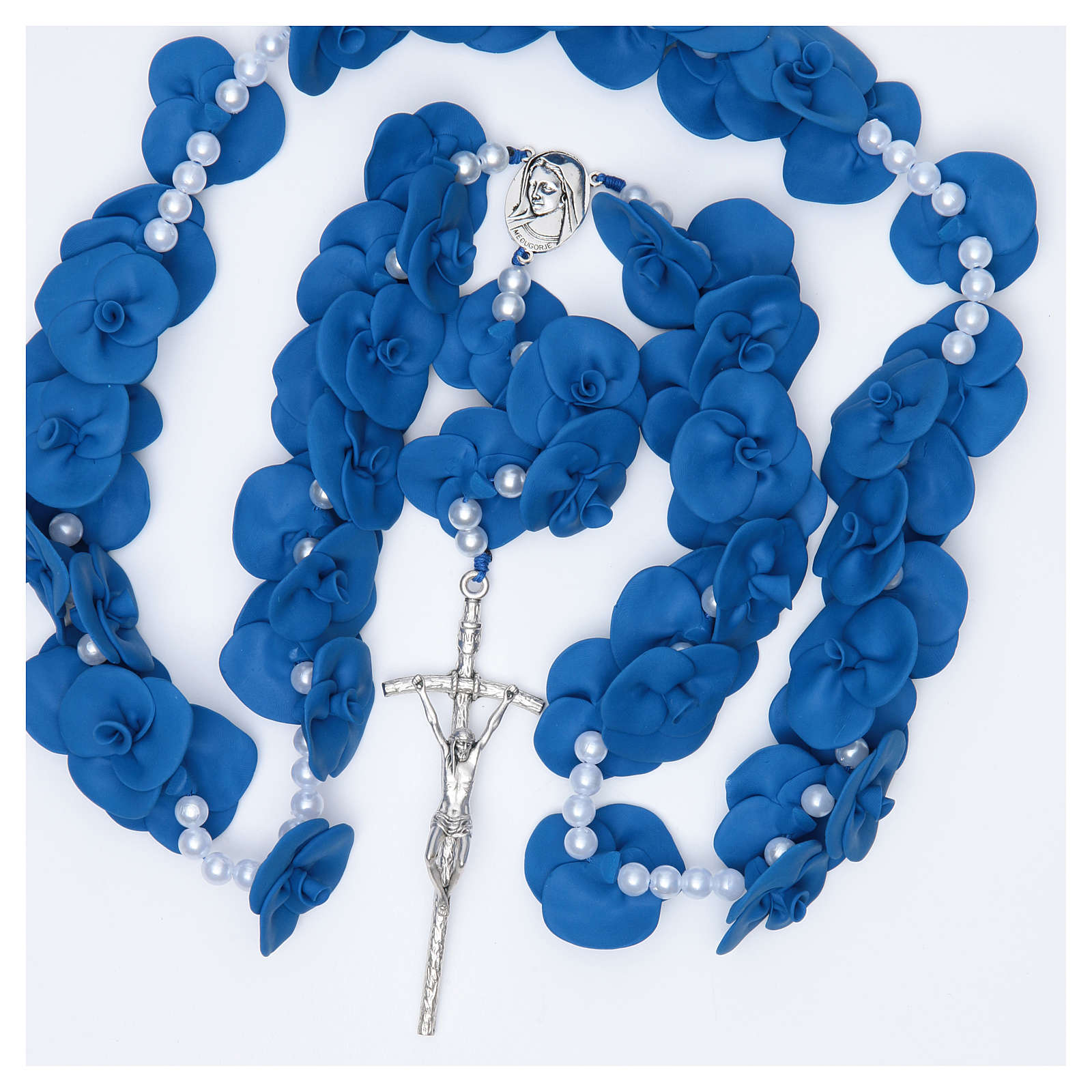 Headboard Medjugorje rosary with blue roses 4