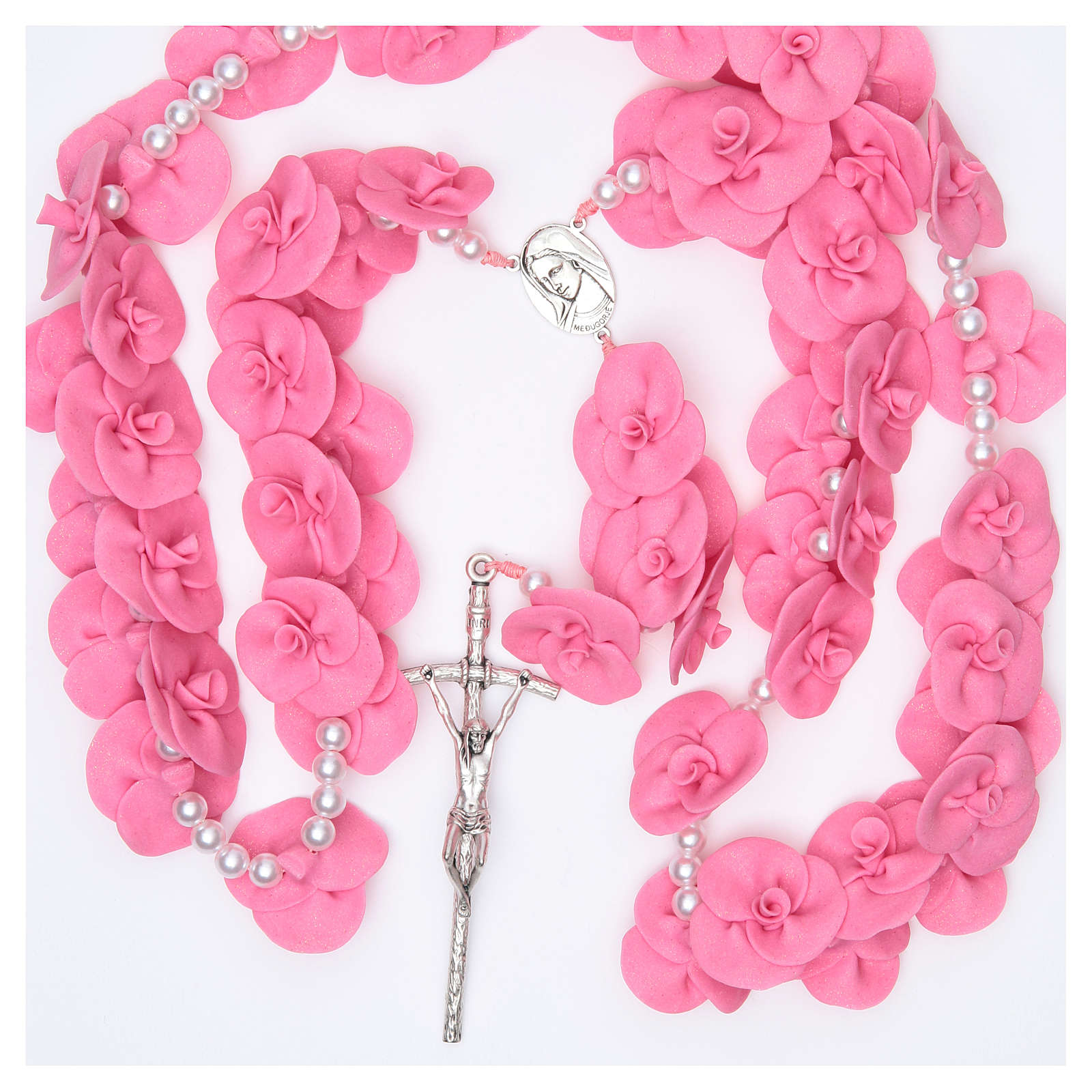 Headboard Medjugorje rosary with dark pink roses 4
