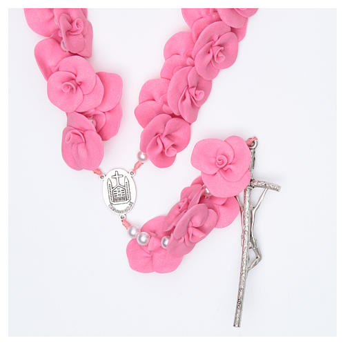 Headboard Medjugorje rosary with dark pink roses 2
