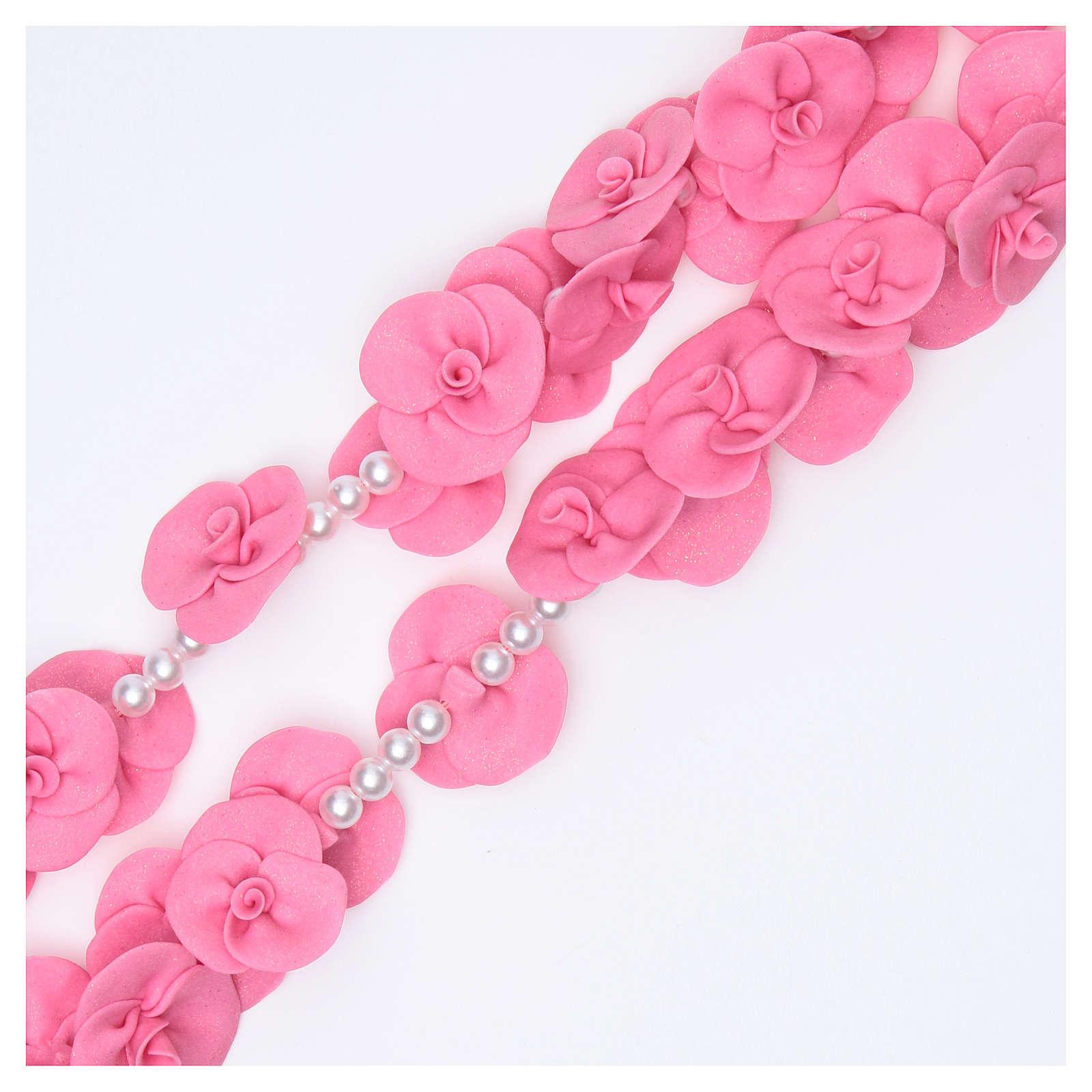 Rosario para colgar Medjugorje rosas rosa oscuro 4