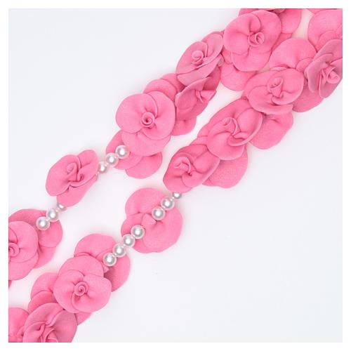 Rosario para colgar Medjugorje rosas rosa oscuro 3