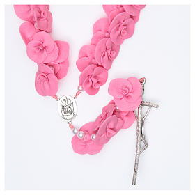 Medjugorje wall rosary with dark pink roses s2