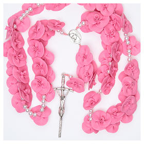 Medjugorje wall rosary with dark pink roses s4