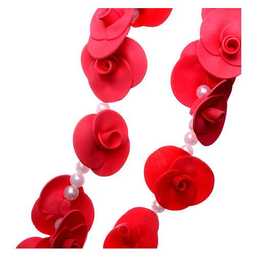 Rosario para colgar Medjugorje rosas rosa claro 3