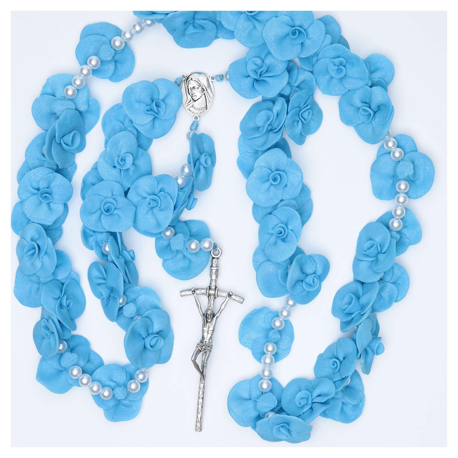 Headboard Medjugorje rosary with light blue roses 4
