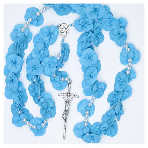 Headboard Medjugorje rosary with light blue roses 4