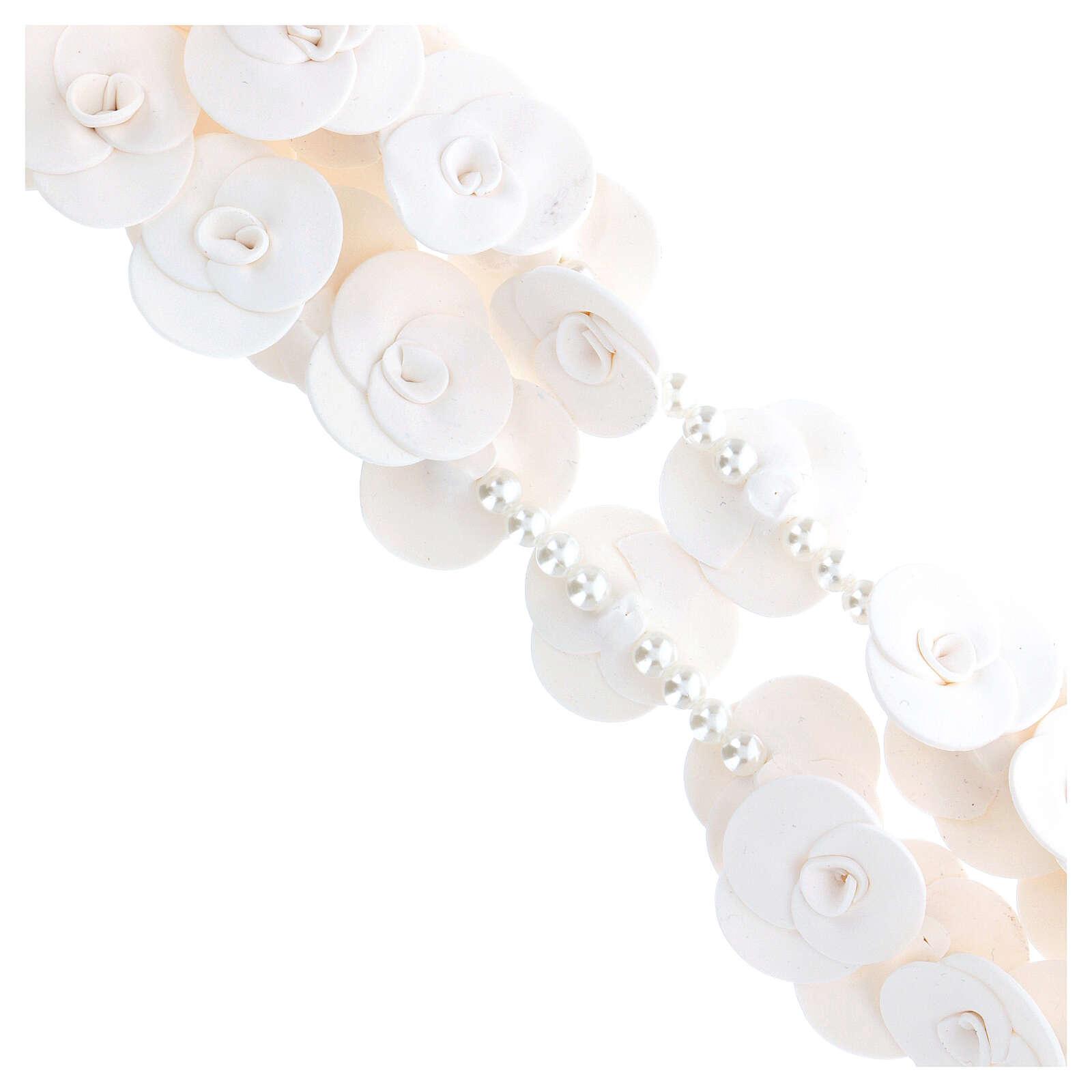 Terço de parede Medjugorje rosas brancas 4
