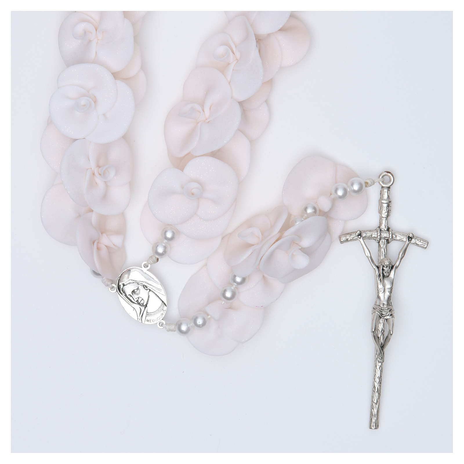 Headboard Medjugorje rosary with white roses 4