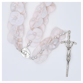 Headboard Medjugorje rosary with white roses s1
