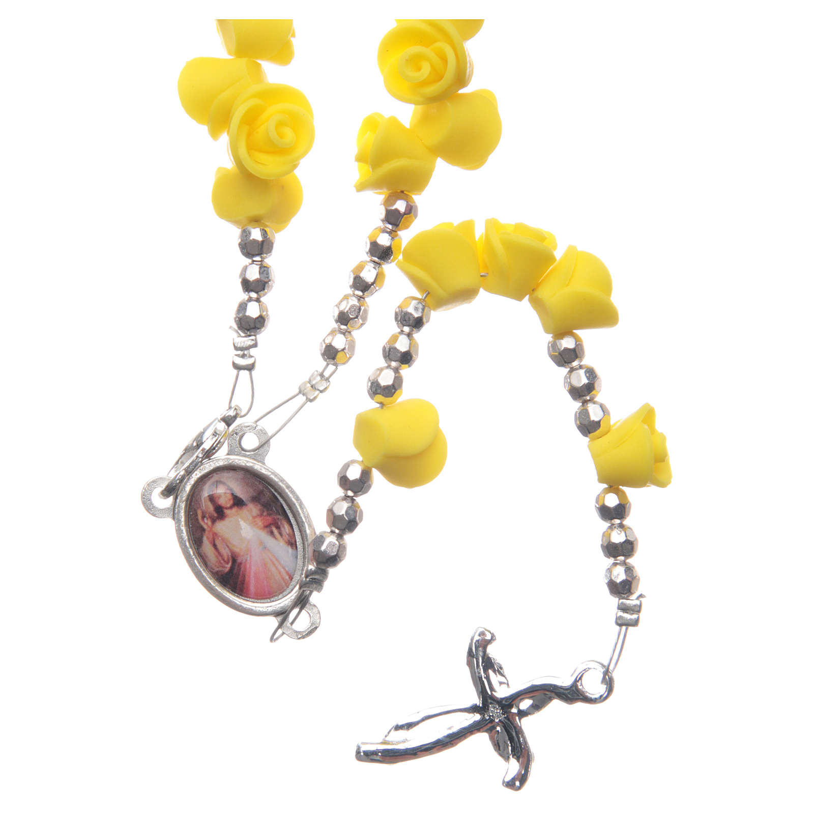 Medjugorje rosary beads with yellow roses with cross in rhinestones 4