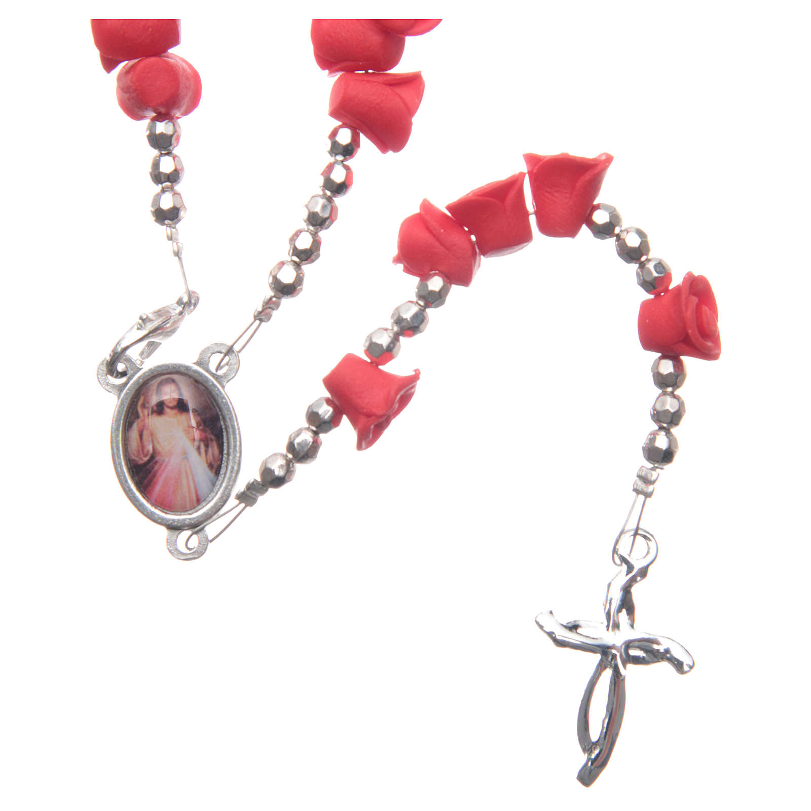 Medjugorje rosary beads with red roses with cross in rhinestones 4