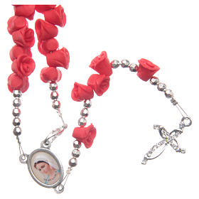Medjugorje rosary beads with red roses with cross in rhinestones s1