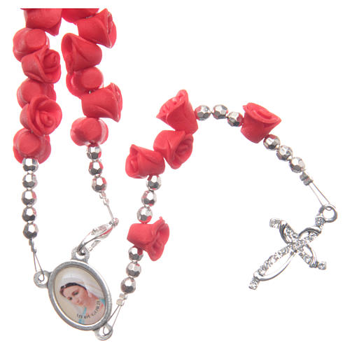 Medjugorje rosary beads with red roses with cross in rhinestones 1