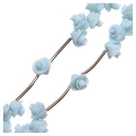 Rosario Medjugorje rose azzurre croce strass s3