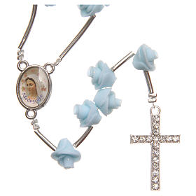 Medjugorje rosary beads with pale blue roses with cross in rhinestones s1