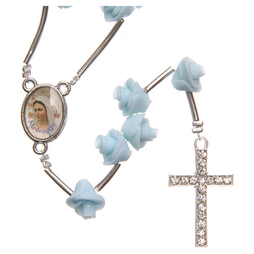 Medjugorje rosary beads with pale blue roses with cross in rhinestones 1