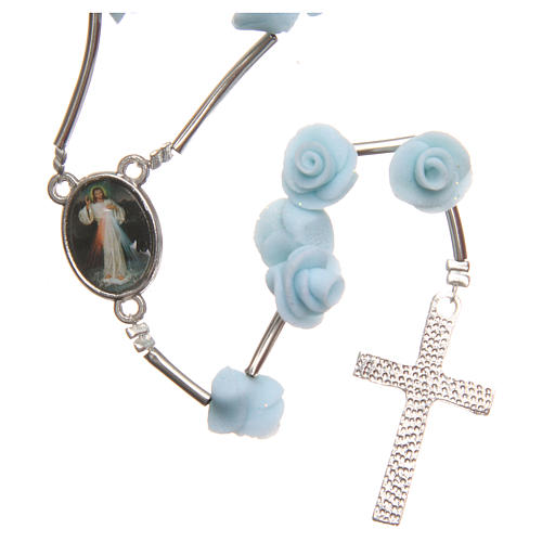 Medjugorje rosary beads with pale blue roses with cross in rhinestones 2