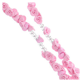 Medjugorje rosary beads with pale pink roses with cross in rhinestones s3