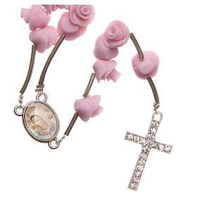 Chapelets et boîte chapelets: Chapelet Medjugorje roses rose clair croix strass