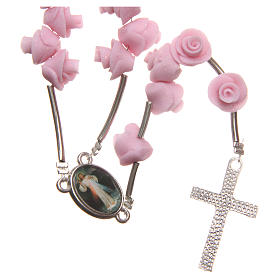 Medjugorje rosary beads with pale pink roses with cross in rhinestones s2