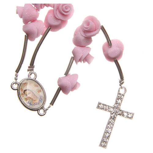Medjugorje rosary beads with pale pink roses with cross in rhinestones 1