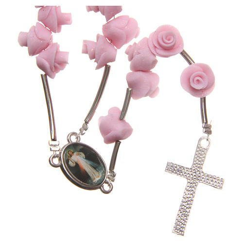 Medjugorje rosary beads with pale pink roses with cross in rhinestones 2